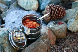 Camping food with pinecone
