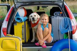 Girl with dog and luggage