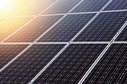 Solar panels with sun