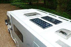 Motorhome fitted with solar panels
