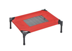 PawHut Elevated Pet Bed Portable Camping Raised Dog Bed w/ Metal Frame Black and Red (Small)