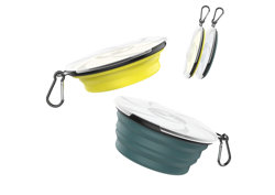 Lewondr Collapsible Dog Bowl, [2 packs] Silicone Food & Water Travel Bowl Portable Pet Dog Bowls with Lids Expandable Pet Feeding Watering Cup Dish for Walking, Kennels & Camping - Dark Cyan & Yellow