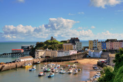 View of Tenby Harbour in Wales
