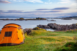 Tent camping in Scottish Highlands